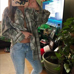 oversized wrangler plaid cotton flannel button up